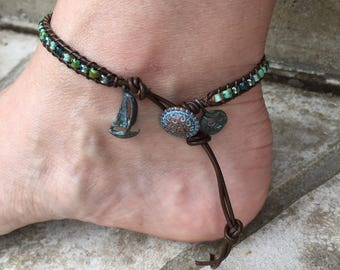 Sailboat Anklet Sailboat Ankle Bracelet Bohemian Anklet Beach Boho Leather Anklet Leather Jewelry Cute Anklet Made in USA