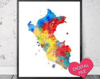 Peru Map Watercolor- PRINTABLE Art- Digital Download- Peru Map- Peru Printable Poster- Peru Wall Art, Peru Watercolor Painting, Peru Print