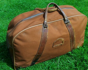 Vintage Brown Canvas Holdall (1960s)