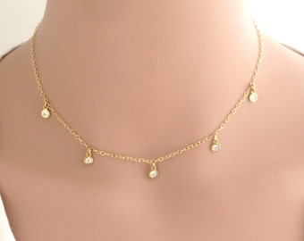 Gold CZ Station Necklace, Cubic zirconia bezel choker, 14K gold filled cz choker, necklace dainty choker