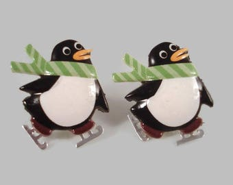 Penguin Earrings - Christmas Penguin Earrings - Holiday Novelty Jewelry - Penguin Jewelry