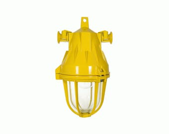 Vintage Suspended Explosion Proof Light / Ceiling Lighting / Industrial Iron Cast with Glass Dome Sconce / Pendant Lamp / made in Romania
