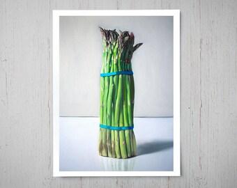 Asparagus Bunch - Kitchen Fine Art Oil Painting Archival Giclee Print Decor by Artist Lauren Pretorius