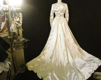 Satin Wedding Gown Train Vintage 60s Adeline of California SM