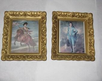 Pair vintage small prints Little Blue Boy gold plastic frames