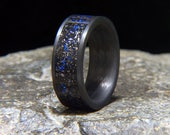Blue Twilight Meteorite Shavings Inlay Carbon Fiber Wedding Band or Unique Gift Ring