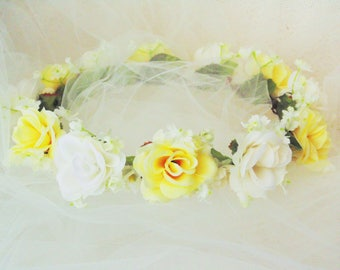 Pastel Yellow and Ivory Roses Wedding Crown, Yellow Rose Crown, Bridesmaid Crown, Flower Girl Tiara, Fairy Tiara, Renaissance Crown