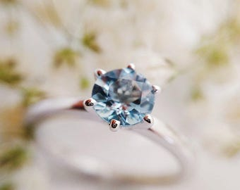 Sterling Silver Ring, Silver Rings, Silver Jewelry, Aquamarine Engagement Ring, Aquamarine Ring, Engagement Ring