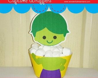 50% OFF Printable Digital PDF File - Cupcake Wrappers Superhero Baby Boy Green
