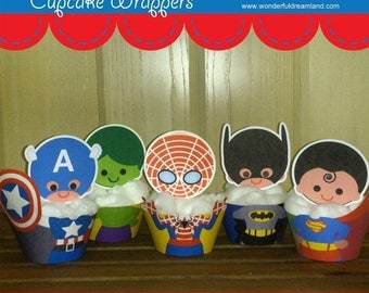 50% OFF Superhero Boys Cupcake Wrappers PDF 1.2 - Instant Download Printable Digital  File