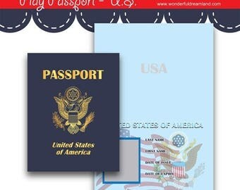 50% OFF Play Passport United States - PDF JPG Instant Download Printable Digital File