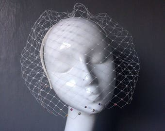 Bridal wedding handmade birdcage veil with swarovski crystals on satin headband - can be ordered in different colours