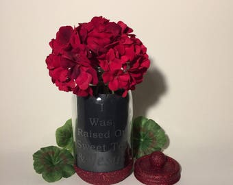 Mason Jars. Jesus and Sweet Tea Decorative Etched Glass Glitter Jar Flower Vase. Tea Light Candle Holder. Kitchen Utensil Storage Container