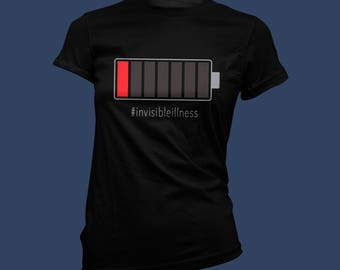 CUSTOMIZE Battery Run Down Femme short sleeve T-Shirt on Black - Invisible Illness, disability