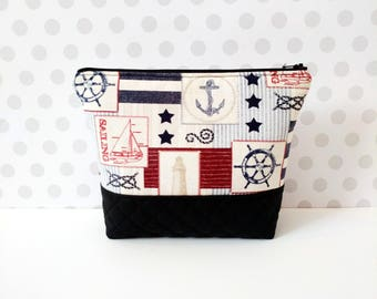 Sea Patch Large Makeup Pouch / Sailboat / Anchor
