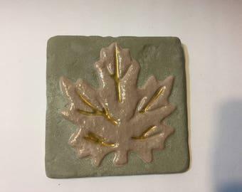 Leaf tile concrete, leaf, concrete decor, leaf decor, garden decor, home decor, painted concrete, concrete tile, wall hanging