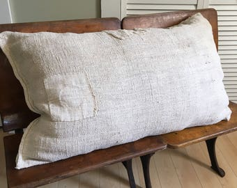 Vintage/antique grain sack pillow/ European grain sack/ European farmhouse/ 1800's/ authentic grain sack