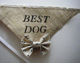 Rustic Dog Bandana - Dog of Honor Collar - Best Dog Bowtie - I Do Too - Burlap Bandana - Pet Wedding - Pet Photo Prop - Rustic Wedding