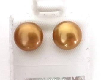 Honora Golden 8.5 mm Pearl Post Earrings 925 Sterling Silver  gw17-214