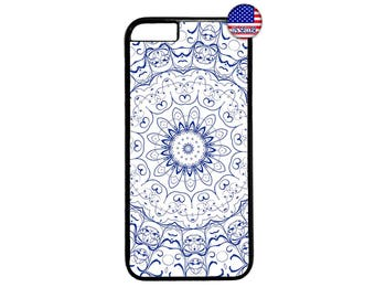 Mandala Blue Henna Style design Hard Rubber TPU slim Case Cover for iPhone 4 4s 5 5s SE 5C 6 6s 6 Plus 7 7 Plus iPod Touch 4 5 6