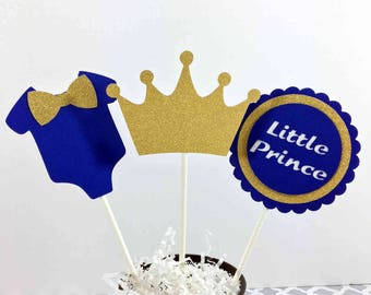 Royal Blue And Gold Little Prince Table Centerpiece Sticks, Little Prince Baby  Shower Decorations,