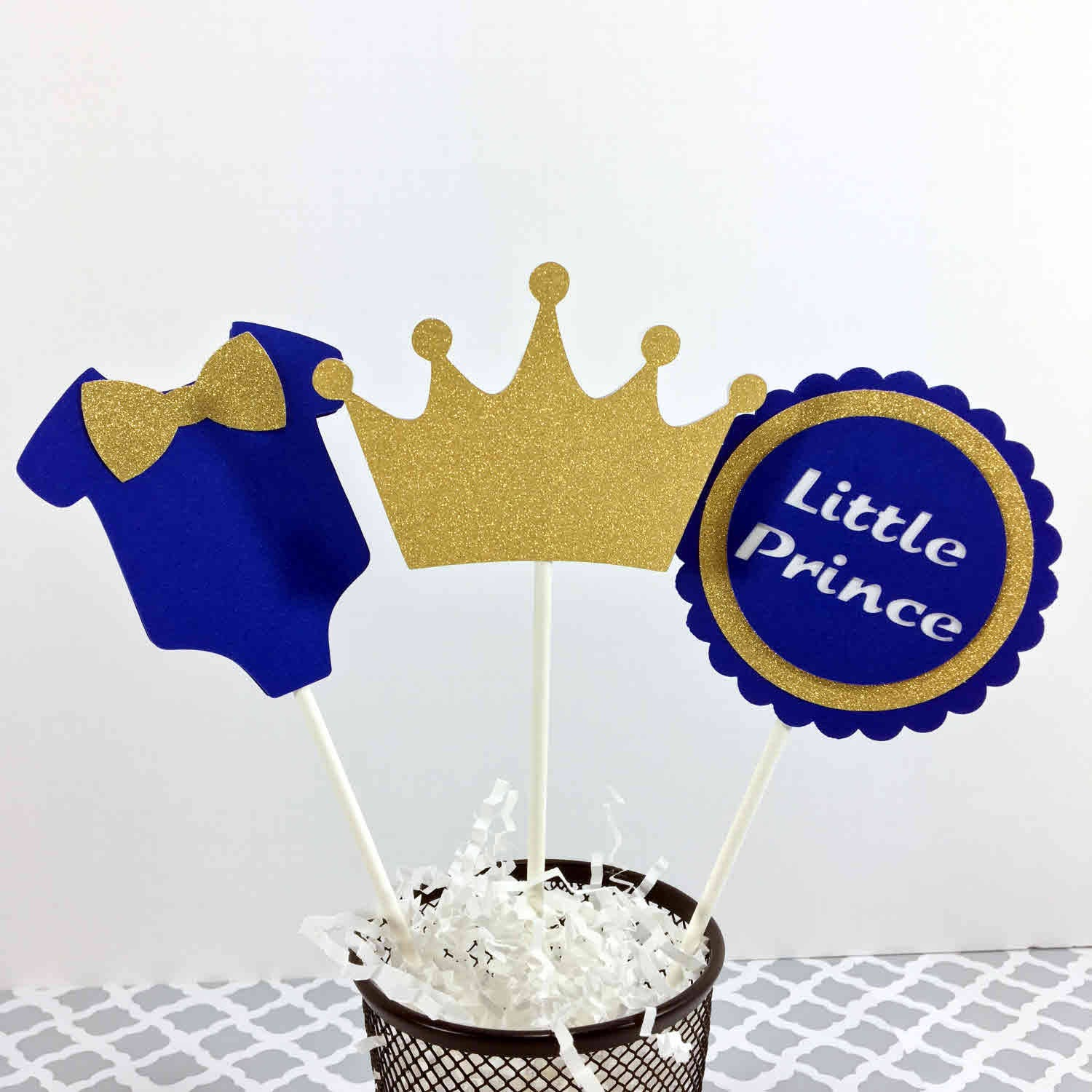 Royal Blue and Gold Little Prince Table Centerpiece Sticks