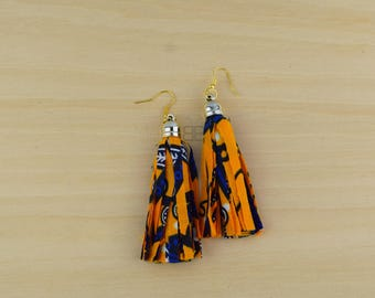 Yellow Tassel earrings, ankara earrings, handmade earrings, afro earrings, african fabric tassel earrings,  boucles d'oreilles afro