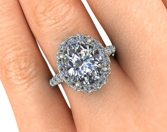Oval Moissanite Engagement Ring, Halo Style Engagement Ring, 4 Carats Oval Forever One or SuperNova, 40 Ethically Sourced Diamonds
