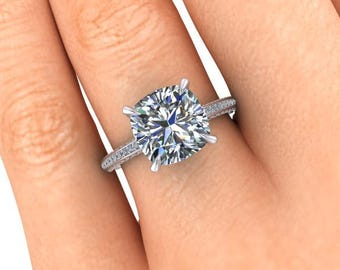 Cushion Cut Moissanite Engagement Ring, 2.80 Carats Forever One or Supernova, Palladium and Ethical Diamonds Ring, Diamond Alternative