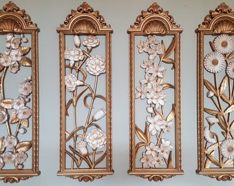 Vintage Syroco Floral Hollywood Regency Gold Wall Art Decorative Wall hanging Set of Four Plastic Panels