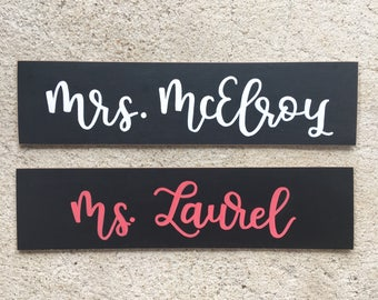 Hand Lettered Name Chalkboard | Teacher Name Plate | Teacher Sign | Chalkboard Sign | Teacher Chalkboard | Southern Sweetheart Gifts