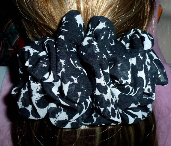 Becky Bows ~ ROSETTE Barrette Hand crafted giant huge Scarf BIG hair bow Women or Girls black gray leaf