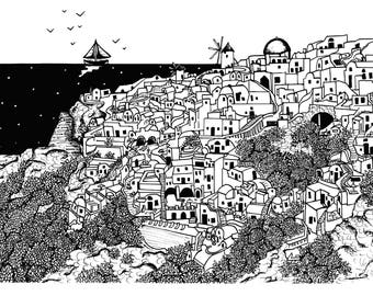 Limited Edition Santorini, Greece Drawing Print- Signed by Kelsey Montague