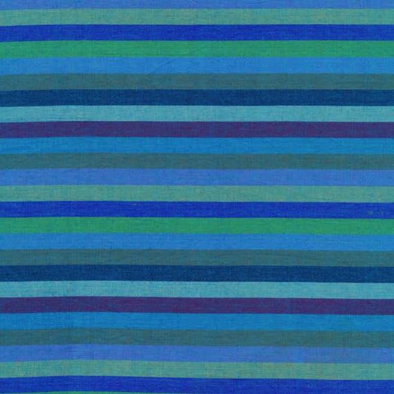 NARROW STRIPE  BLUE Woven narrow.bluex  by  Kaffe Fassett fabric sold in 1/2 yard increments