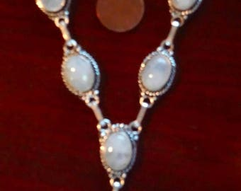 ENDLESS SUMMER SALE Incredibly Flashy Austrian Alps Rainbow Moonstone Necklace  925 Sterling Silver 18""