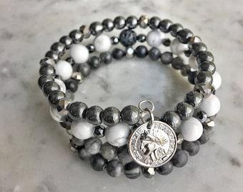 Hematite / white howlite / smokey  Swarovski crystal / black network stone / french coin