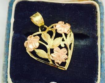 Vintage 14K Two-Tone Rose Gold Heart Floral Pendant - 1.7 Grams