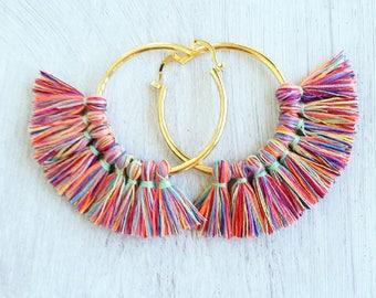 Tassel hoop earrings, Boho hoop earrings gold, tassel hoop earrings, Boho tassel hoop earrings, tassel earrings