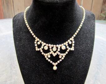 Vintage Aurora Borealis rhinestone necklace - estate jewelry