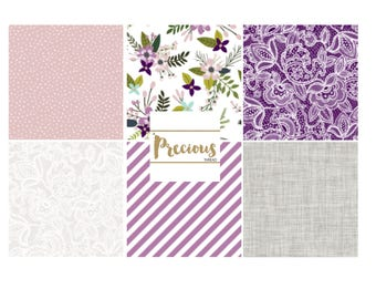 purple and grey flowers and lace crib bedding nursery decor and baby bedding fitted