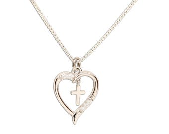 Sterling Silver Dancing Cross Heart Charm Necklace with Gift Box  (BCN-Dancing Cross Heart)