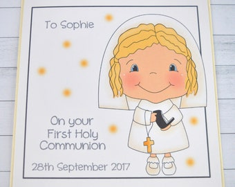 Handmade Personalised. Customised. Girl First Holy Communion Card