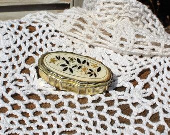 Vintage. Floral/gold/pill box/compact. Cute pill box! Perfect size for your purse!