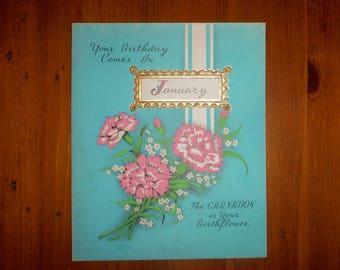 Unusual 1930's January Happy Birthday Card - '30's Vintage January Horoscope Floral Birthday Card - Month Birthday Card - Art Deco Ephemera
