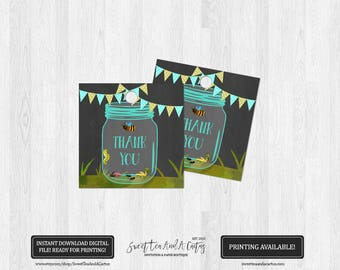 Bug Thank You Tags Boys Birthday Party Bug Hunt Mason Jar Chalkboard Party Favor Tags Printable Digital File Instant Download