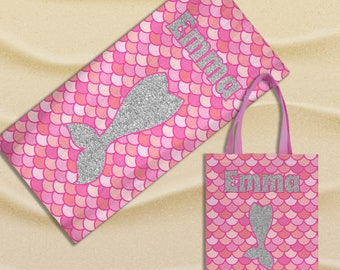 Personalized Mermaid Tail Towel and Beach Tote Bag - Pink Mermaid Beach Bag or Swimming Pool Set with Name - Girl Birthday or Vacation Gift
