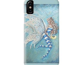 Fairy cell phone case for iPhone, iPhone 6, iPhone 7, 8, X, Plus. Fairy  art by Nancy Quiaoit