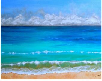 Ocean beach wall art, seascape painting art print, ocean art on canvas, original painting by Nancy Quiaoit.
