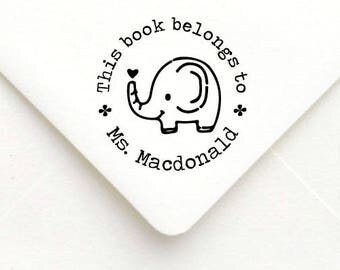 Custom Teacher Stamp, Teacher Rubber Stamp, Teacher Gift Stamp, Personalized Name Teacher Stamp, This book belongs to, Elephant stamp  B26