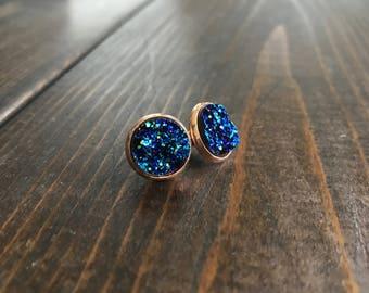 Rose Gold/Blue Resin 14mm Stud Earrings